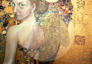 Papier decoupage - beautiful women in gold